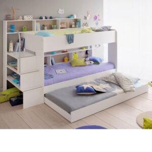 Bibop White Wooden Bunk Bed with Underbed Trundle Frame Only - EU Single