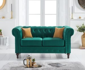 Calama Green Velvet 2 Seater Sofa