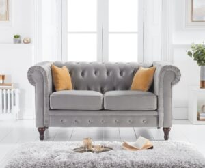 Calama Grey Velvet 2 Seater Sofa