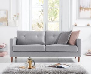 Carla Grey Linen 3 Seater Sofa