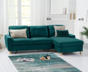 Christian Double Sofa Bed Right Facing Chaise In Green Velvet