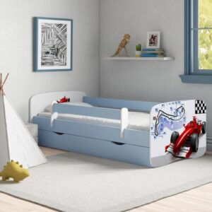 Cicero Convertible Toddler Bed with Drawer Zipcode Design Size: European Toddler (80 x 160 cm), Colour: Blue/White
