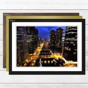 'City and Buildings at Night' Framed Photographic Print Big Box Art Frame Colour: Oak