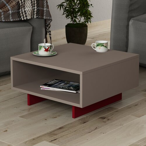 Coffee Table with Storage Symple Stuff Base Finish: Burgundy, Top Finish: Light Moca