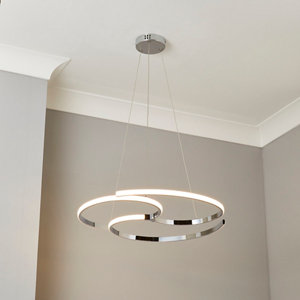 Connect Spiral Chrome effect Pendant ceiling light