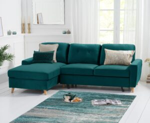 Constance Double Sofa Bed Left Facing Chaise in Green Velvet