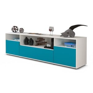"""Coppock TV Stand for TVs up to 42"""" Ebern Designs Colour: Turquoise / Matte White"""