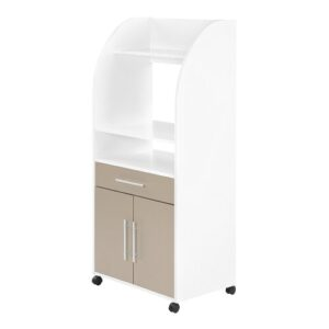 Curved Microwave Kitchen Trolley Ebern Designs Finish: White/Taupe