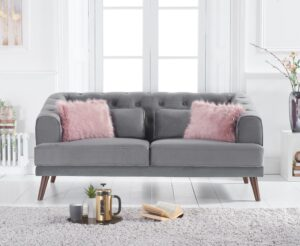 Delilah Grey Velvet 2 Seater Sofa