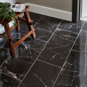 Elegance Black Gloss Marble effect Porcelain Floor Tile Sample