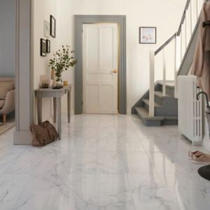 Elegance White Gloss Marble effect Porcelain Floor Tile Sample