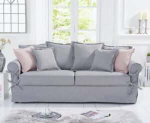 Ex-display Clement Grey Linen 3 Seater Sofa