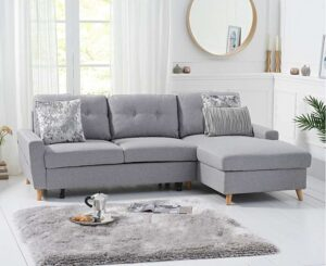 Ex-display Constance Double Sofa Bed Right Facing Chaise in Grey Linen