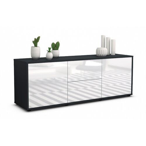 """Fredrick TV Stand for TVs up to 39"""" Mercury Row Colour: High-gloss White / Matte Anthracite"""