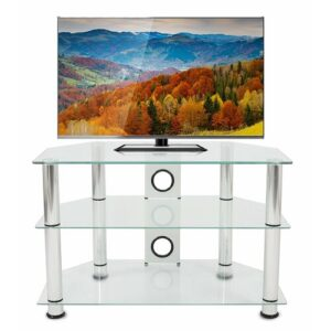 """Glass TV Stand for TVs up to 37"""" Symple Stuff Colour: Clear/Silver"""