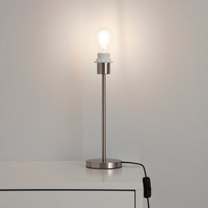 GoodHome Guiterne Brushed Chrome effect Table lamp base