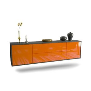"Gottlieb TV Stand for TVs up to 78"" Ebern Designs Colour: Black/Orange"