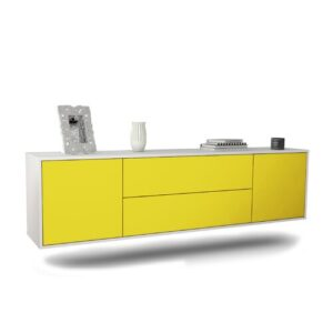 "Gottlieb TV Stand for TVs up to 78"" Ebern Designs Colour: White/Yellow"