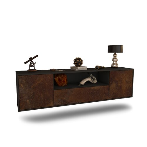 "Gottschalk TV Stand for TVs up to 78"" Ebern Designs Colour: Black/Rust"