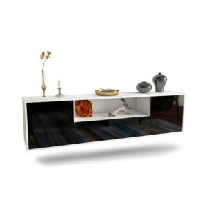 "Gottschalk TV Stand for TVs up to 78"" Ebern Designs Colour: White/Black"