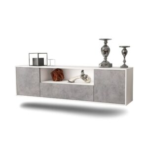 "Gottschalk TV Stand for TVs up to 78"" Ebern Designs Colour: White/Concrete"
