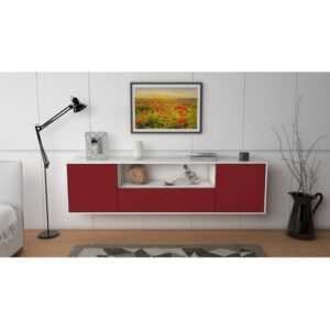 "Gottschalk TV Stand for TVs up to 78"" Ebern Designs Colour: White/Red"