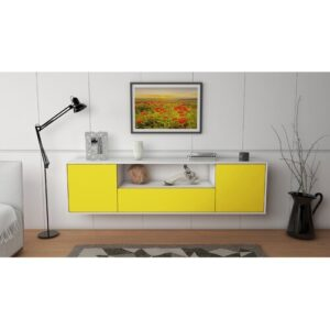 """Gottschalk TV Stand for TVs up to 78"""" Ebern Designs Colour: White/Yellow"""