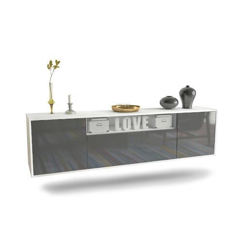 """Goudy TV Stand for TVs up to 78"""" Ebern Designs Colour: White/Grey"""