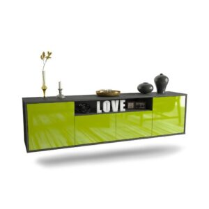 """Goulding TV Stand for TVs up to 78"""" Ebern Designs Colour: Black/Green"""