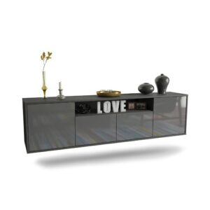 """Goulding TV Stand for TVs up to 78"""" Ebern Designs Colour: Black/Grey"""