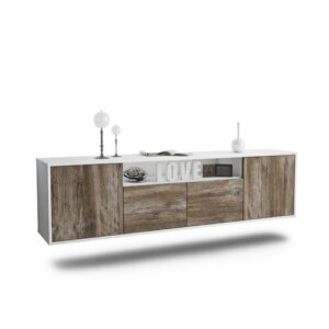 "Goulding TV Stand for TVs up to 78"" Ebern Designs Colour: White/Driftwood"