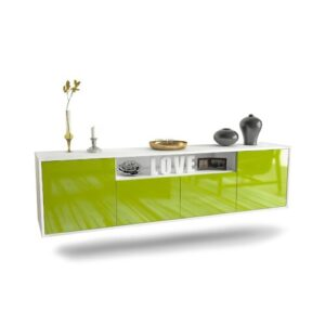 """Goulding TV Stand for TVs up to 78"""" Ebern Designs Colour: White/Green"""
