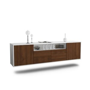 "Goulding TV Stand for TVs up to 78"" Ebern Designs Colour: White/Walnut"