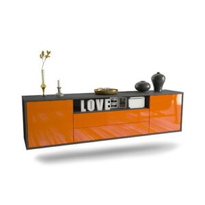 "Gourdine TV Stand for TVs up to 78"" Ebern Designs Colour: Black/Orange"