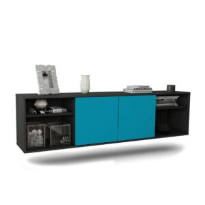 "Govan TV Stand for TVs up to 78"" Ebern Designs Colour: Black and turquoise"