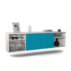 """Govan TV Stand for TVs up to 78"""" Ebern Designs Colour: White/Turquoise"""