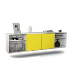 "Govan TV Stand for TVs up to 78"" Ebern Designs Colour: White/Yellow"