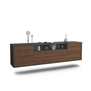 "Gowdy TV Stand for TVs up to 78"" Ebern Designs Colour: Black/Walnut"