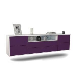 "Gowdy TV Stand for TVs up to 78"" Ebern Designs Colour: White/Purple"