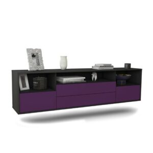 """Gowen TV Stand for TVs up to 78"""" Ebern Designs Colour: Black/Purple"""