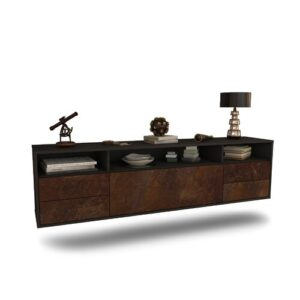 """Grabowski TV Stand for TVs up to 78"""" Ebern Designs Colour: Black/Rust"""