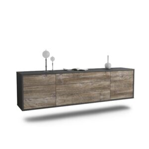 "Gracey TV Stand for TVs up to 78"" Ebern Designs Colour: Black/Driftwood"