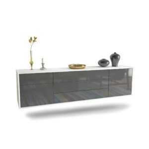 """Gracey TV Stand for TVs up to 78"""" Ebern Designs Colour: White/Grey"""