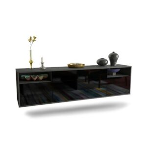 "Graf TV Stand for TVs up to 78"" Ebern Designs Colour: Black"