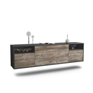 "Graf TV Stand for TVs up to 78"" Ebern Designs Colour: Black/Driftwood"