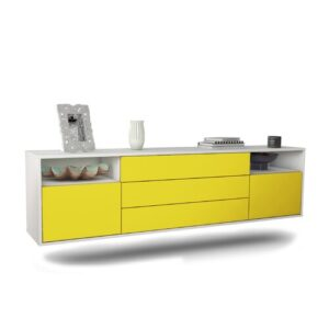 """Graf TV Stand for TVs up to 78"""" Ebern Designs Colour: White/Yellow"""