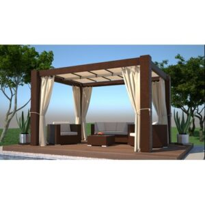 Guglielmo 0.4m x 0.3m Aluminium Gazebo Sol 72 Outdoor Frame colour: Brown