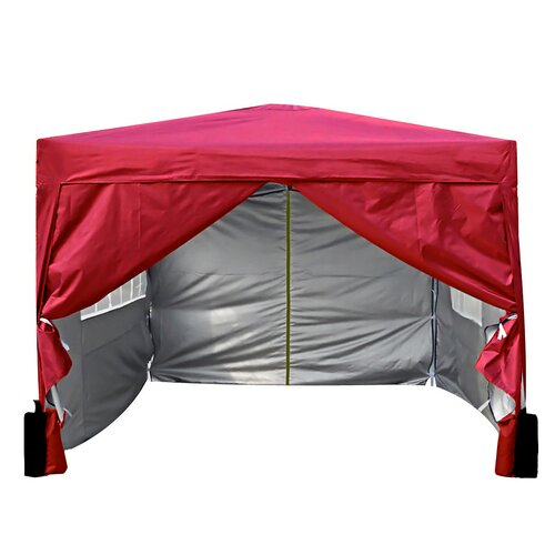 Jarrow 3m x 3m Aluminium Pop-Up Gazebo Sol 72 Outdoor Roof Colour: Red