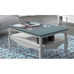 Jillian Coffee Table August Grove Finish: Distressed White/Navy Blue