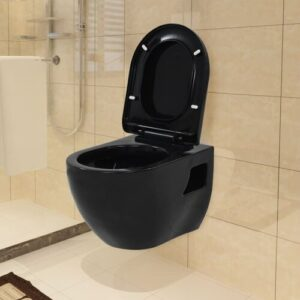 Kaing Wall Hung Toilet with Soft Close Seat Belfry Bathroom Finish: Black
